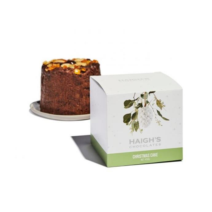 """Gift boxed Christmas cake, $22.90, [Haighs](https://www.haighschocolates.com.au/2020-christmas-christmas-cake