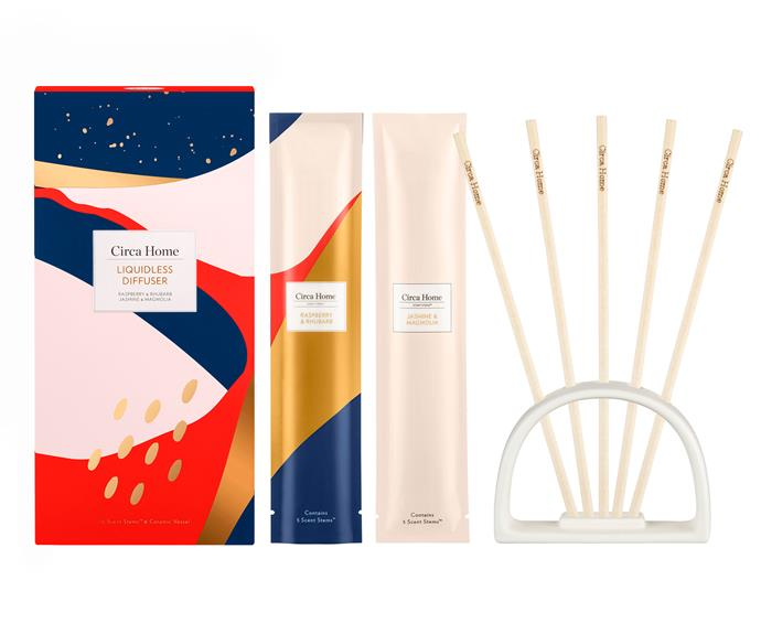 "Circa Home Raspberry & Rhubarb and Jasmine & Magnolia Liquidless Diffuser Set, $39.95, [Adore Beauty](https://www.adorebeauty.com.au/circa-home/circa-home-raspberry-rhubarb-and-jasmine-magnolia-liquidless-diffuser-set.html|target=""_blank""