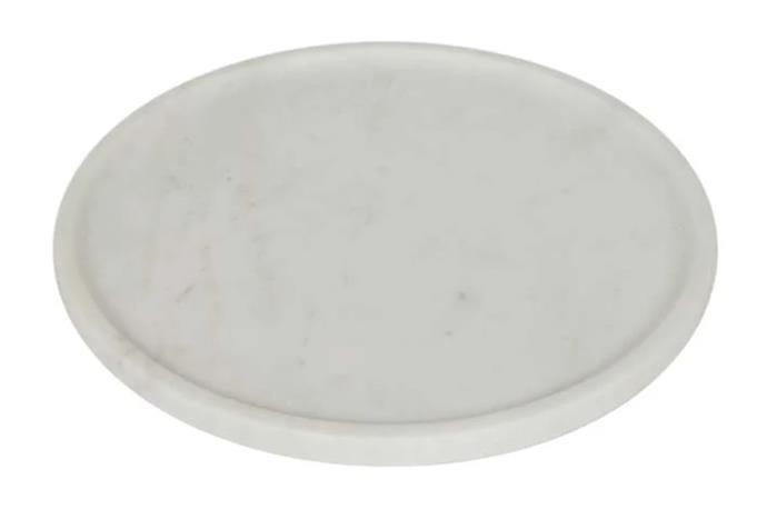 "Ridge Round Marble Plate, $60, [Globe West](https://www.globewest.com.au/browse/ridge-round-marble-plate#product-popup target=""_blank"" rel=""nofollow"")."