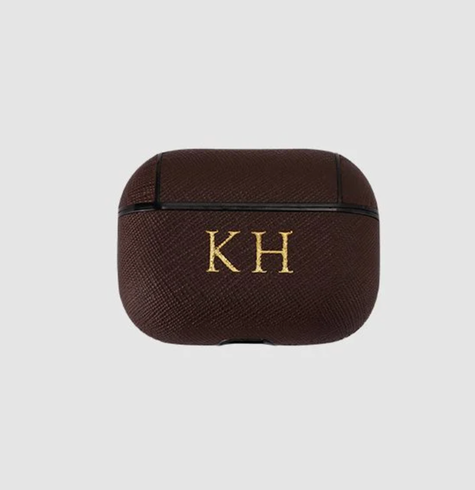 """Chocolate Brown Saffiano Airpod Pro Case, $49.95, [The Daily Edited](https://www.thedailyedited.com/chocolate-brown-saffiano-airpod-pro-case