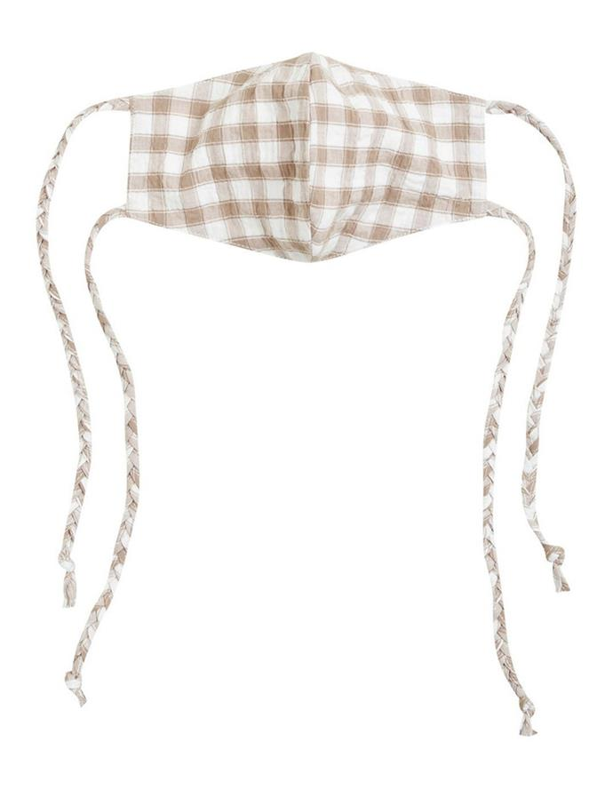 """Seed Heritage Gingham Tie Face MaskGingham Tie Face Mask, $19.95, [Myer](https://www.myer.com.au/p/sed-heritage-gingham-tie-face-mask
