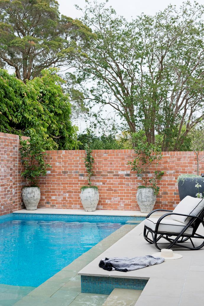 """The resort style pool, which spans the width of the backyard, provides cool relief in summer and creates a beautiful outlook that can be enjoyed from almost any spot in the house. Key to achieving the look was sourcing the recycled red bricks, which reminded Matt of his childhood growing up in Canberra. """"Red bricks are more common down south, but here their weatherworn patina works well to give our relatively new home character,"""" he says. Passers-by have even stopped to enquire about the rustic bricks, with more than 14,000 sourced from a recycle yard in NSW. The raw colour also contrasts beautifully with the pool interior tiled in Bisazza blue-gold metallic mosaics. Citrus trees in urns from Graceville Imports soften the brick expanse"""