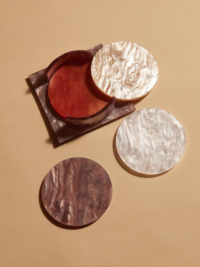 "Aeyre Coaster set plum, $129, [Reliquia Collective](https://reliquiacollective.com/collections/living/products/coaster-set-plum target=""_blank"" rel=""nofollow"")"