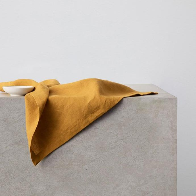 "Linen Table Napkins - Mustard, Set of 4 fo $50, [Cultiver](https://cultiver.com.au/products/linen-table-napkin-mustard?variant=31714572894231 target=""_blank"" rel=""nofollow"")"