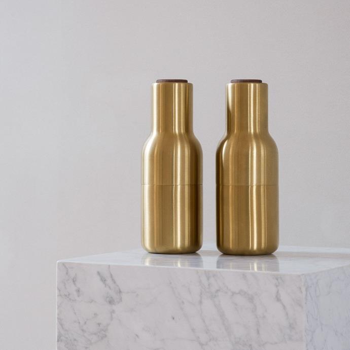 "MENU Salt and Pepper Bottle Grinders Set Brushed Brass/Walnut Lid, $289, [Design Stuff](https://www.designstuff.com.au/product/menu-salt-and-pepper-bottle-grinders-set-brushed-brass-walnut-lid/ target=""_blank"" rel=""nofollow"")"