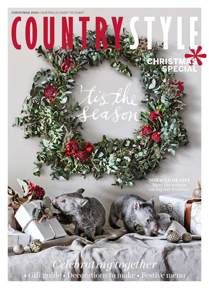 """**2020**<P> <p>This year, we're celebrating the joys of the season with two adorable rescue [wombats photographed by Marnie Hawson](https://www.homestolove.com.au/prints-for-wildlife-marnie-hawson-22026 target=""""_blank"""") These little cuties live at the Emerald Monbulk Wildlife Centre in Victoria's Dandenong Ranges, and we learned all about them from Carol Seeger, who's devoted her life to rescuing wildlife. To purchase a copy of our December issue or subscribe, visit [magshop.com.au](https://www.magshop.com.au/Products/ACS/country-style-magazine-subscription target=""""_blank"""" rel=""""nofollow"""")"""