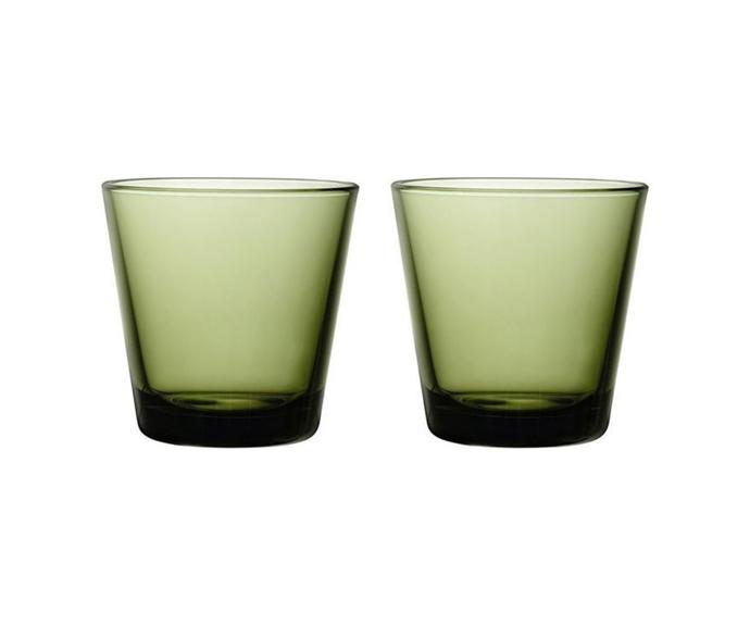 "IITTALA Kartio Tumbler Set Of 2 Moss Green, $34.95, [Myer](https://www.myer.com.au/p/iittala-kartio-tumbler-set-of-2-moss-green target=""_blank"" rel=""nofollow"")"