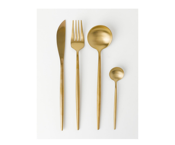 "Vue Spencer 16pc Cutlery Set Gold, $99.95, [Myer](https://www.myer.com.au/p/vue-spencer-16pc-cutlery-set-gold target=""_blank"" rel=""nofollow"")"