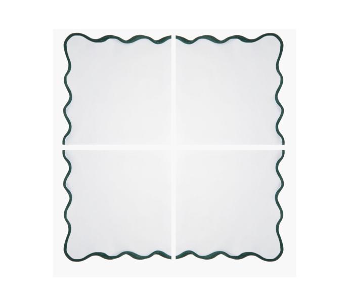 """ANGELA WICKSTEAD Set of four scalloped-edge linen napkins, $315, [MatchesFashion](https://www.matchesfashion.com/au/products/Angela-Wickstead-Set-of-four-scalloped-edge-linen-napkins-1391143 target=""""_blank"""" rel=""""nofollow"""")"""