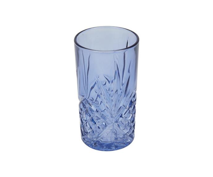 "6 Pack Embossed Coloured Hiball Glasses, $10, [Kmart](https://www.kmart.com.au/product/6-pack-embossed-coloured-hiball-glasses/3165325 target=""_blank"" rel=""nofollow"")"