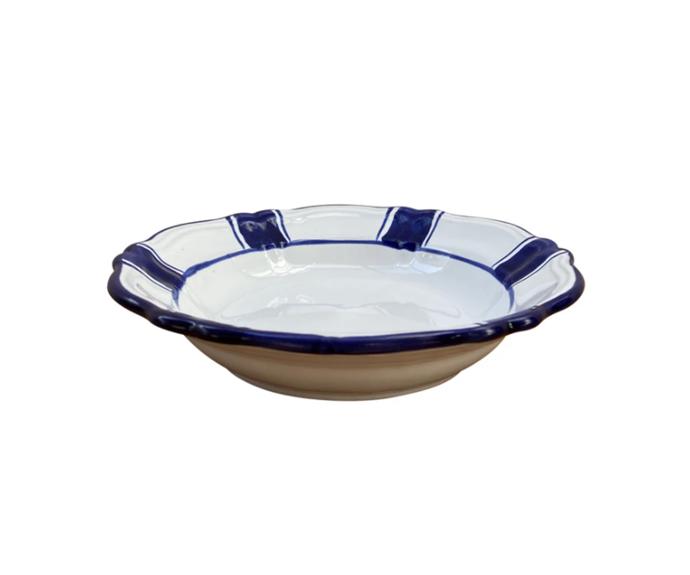 "Ceramic pasta bowl - blue stripe, Puglia, Italy, $79, [Alex and Trahanas](https://alexandtrahanas.com/collections/ceramics/products/ceramic-pasta-bowl-blue-stripe-puglia-italy target=""_blank"" rel=""nofollow"")"