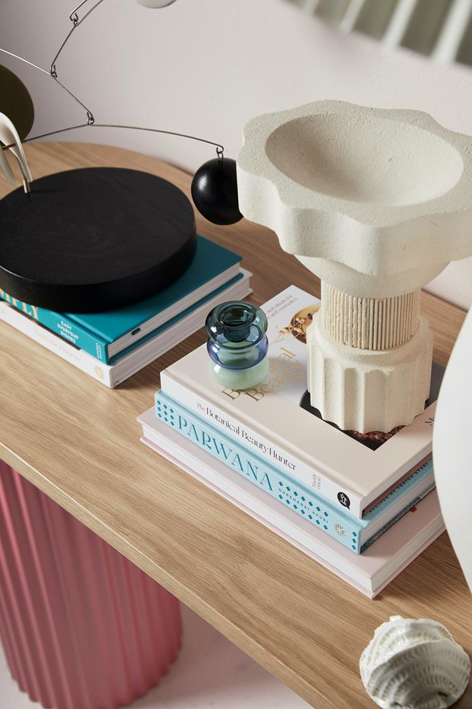 Ornamental No3 mobile by Odette Ireland, $1250, Curatorial+Co. Pauline candle holder in Teal, Azure and Mint, $49 for petite, Maison Balzac. Tall bowl, $290, Neighbourhood Studio. Reminiscences of Sydney Opera House sculpture by Carleen Devine, $200, Saint Cloche. Alice lamp in White, $349, McMullin & Co. Etta shoulder bag in Lemon Curd, $399 for mini, Oroton. Vintage white tray from Salvos. Books from Kinokuniya.