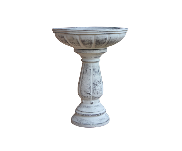 "Northcote Pottery 37 x 47cm Cafestyle Villa Bird Bath - Antique White, $55, [Bunnings](https://www.bunnings.com.au/northcote-pottery-37-x-47cm-cafestyle-villa-bird-bath-antique-white_p2800750?gclid=Cj0KCQiAqdP9BRDVARIsAGSZ8An0DWRT3hZoOTiEmTUu9t0Lx7jTj4JoSO9Kk2hHY_3V6iZGGKyi1zwaAsftEALw_wcB&gclsrc=aw.ds|target=""_blank""|rel=""nofollow"")"