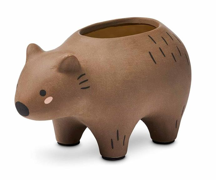 "Australiana Brown Wombat Planter, $34.99, [Adairs](https://www.adairs.com.au/homewares/home-decor/home-republic/australiana-brown-wombat-large-statue/|target=""_blank""