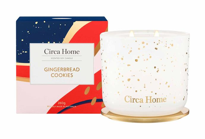 """Circa Home Gingerbread Cookies Candle, $39.95, [Adore Beauty](https://www.adorebeauty.com.au/circa-home/circa-home-classic-candle-gingerbread-cookies-260g.html