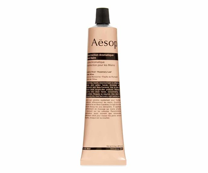 "Aesop Resurrection Aromatique Hand Balm, $33, [Adore Beauty](https://www.adorebeauty.com.au/aesop/aesop-resurrection-aromatique-hand-balm-tube-75ml.html|target=""_blank""