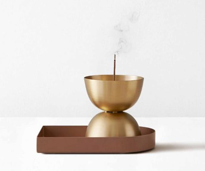 "Brass Essence Incense Burner by Lightly, $45, [Aura Home](https://www.aurahome.com.au/lightly-essence-burner-brass|target=""_blank""