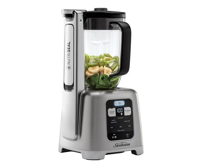 "Sunbeam NutriSeal Vacuum Blender in Brushed Stainless Steel, $399, [Myer](https://www.myer.com.au/p/sunbeam-nutriseal-vacuum-blender-pbt7200|target=""_blank""