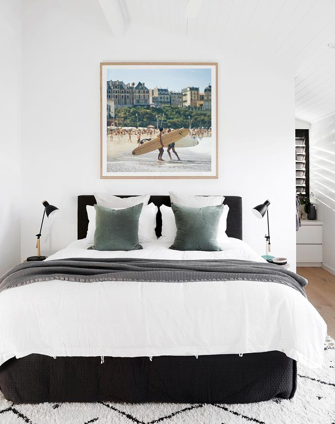 Print by Slim Aarons from CLO Studios. Bedlinen, In Bed. Table lamps and rug, Temple & Webster.