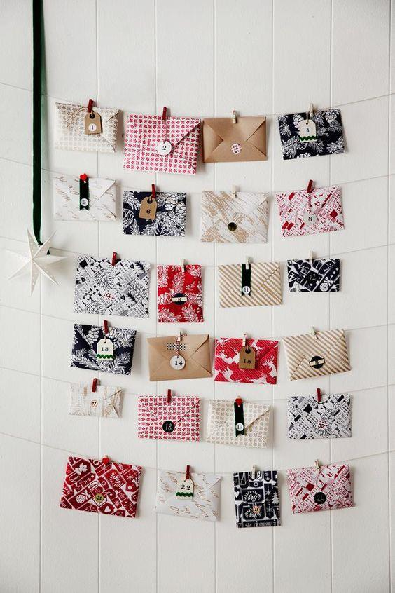 "Make your own [envelope advent calendar](https://www.homestolove.com.au/envelope-advent-calendar-diy-10189|target=""_blank"") or [**display Christmas cards**](http://www.homelife.com.au/how+to/3+ways+to+decorate+with+christmas+cards,21255) on the wall to bring red and white tones to a hallway or empty wall. 