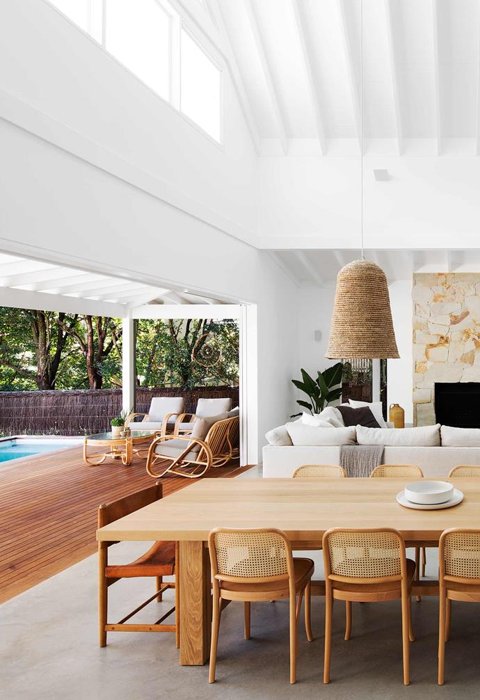 """**Dining room** Blessed with a resort-style pool aspect is the family's generous Provincial oak table and chairs by [The Wood Room](https://thewoodroom.com.au/