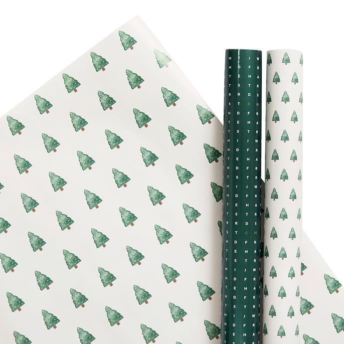 "Wrapping paper roll 3pk, Forest Green, $9.99, [kikki K.](https://www.kikki-k.com/au/christmas-and-gifting/cards-wrap-and-trim/wrapping-paper-roll-3pk-forest-green-christmas-11337001.html?cgid=gifts-cards_wrap_trim|target=""_blank""|rel=""nofollow"")"