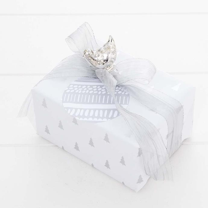 """Jingle Wrapping Paper in White & Silver, $9.95, [Provincial Home Living](https://www.provincialhomeliving.com.au/christmas/gift-giving/wrapping-paper/jingle-silver-trees-wrap-1117259805