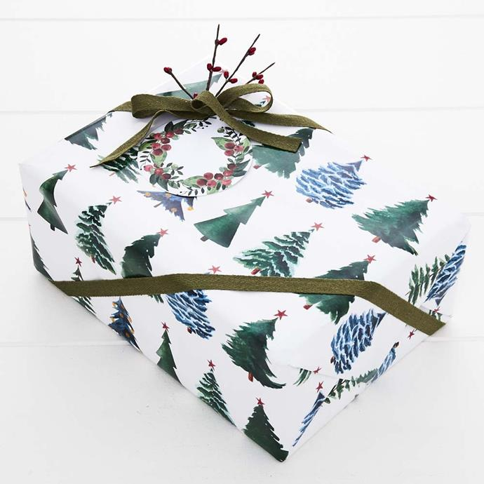 """Jingle Wrapping Paper, $9.95, [Provincial Home Living](https://www.provincialhomeliving.com.au/christmas/gift-giving/wrapping-paper/jingle-jewel-trees-wrap-1117259800