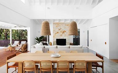 The modern coastal update of a brick beach house in Newport