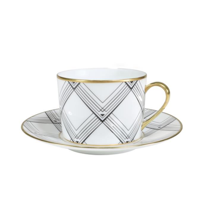 "Art deco empire tea cup & saucer, $215, [Fairfax & Roberts](https://number19.com.au/collections/dinnerware/products/art-deco-empire-tea-cup-saucer?variant=31669306490946|target=""_blank""|rel=""nofollow"")"