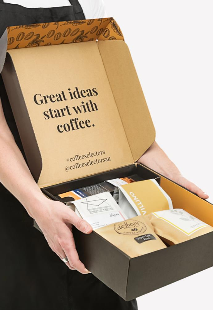 """**COFFEE SELECTORS HOME BARISTAS CLUB**<br><br>There's nothing Australians love more than a good cup of coffee, and for some of us, there's nothing more exciting than getting to try out new exotic and fair trade beans. [Coffee Selectors' Home Baristas Club](https://coffee-selectors.com.au/coffee-subscription/home-baristas-club/ target=""""_blank"""" rel=""""nofollow"""") will send you four 250 gram bags of freshly roasted coffee beans sourced from across Australia straight to your door. Choose from expresso, plunger, stovetop and whole beans to truly tailor the box to your coffee style."""