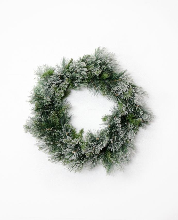 "Fir Snow Wreath, $39.95, [Papaya](https://www.papaya.com.au/fir-snow-wreath-large-1 target=""_blank"" rel=""nofollow"")"