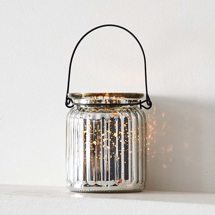 "Hanging Hurricane Lantern in Silver, $3.95, [Provincial Home Living](https://www.provincialhomeliving.com.au/christmas/hurricane-lantern-2178 target=""_blank"" rel=""nofollow"")"
