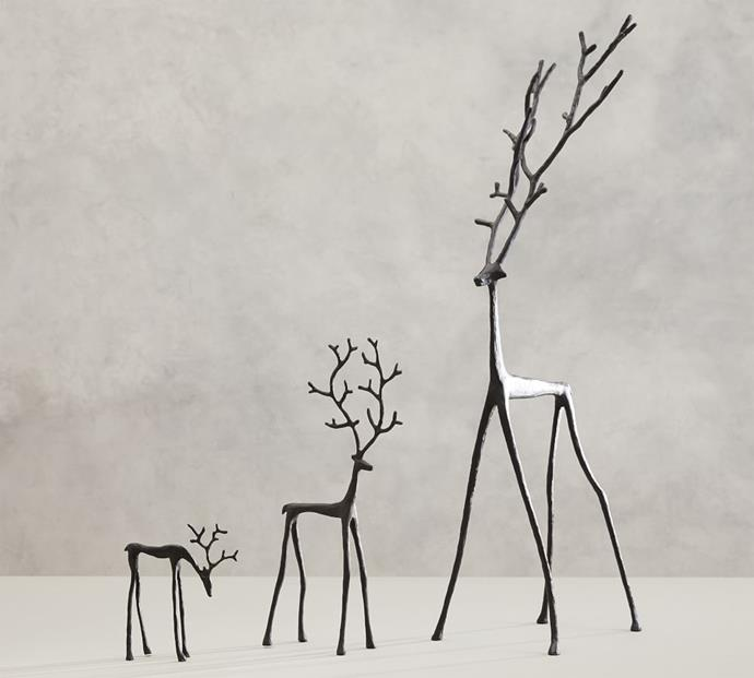 """Sculpted Reindeer Objects, from $29, [Pottery Barn](https://www.potterybarn.com.au/sculpted-reindeer-decorative-object-antique-bronze target=""""_blank"""" rel=""""nofollow"""")"""
