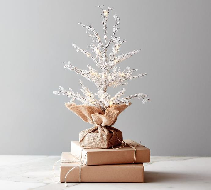 """Pre-Lit Snowy Crystal Trees - Small, $79, [Pottery Barn](https://www.potterybarn.com.au/pre-lit-snowy-crystal-trees target=""""_blank"""" rel=""""nofollow"""")"""
