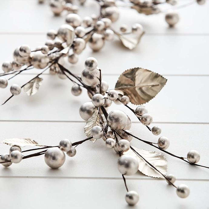 """Tinsel Garland in Antique, $29.95, [Provincial Home Living](https://www.provincialhomeliving.com.au/christmas/tinsel-garland-5635 target=""""_blank"""" rel=""""nofollow"""")"""