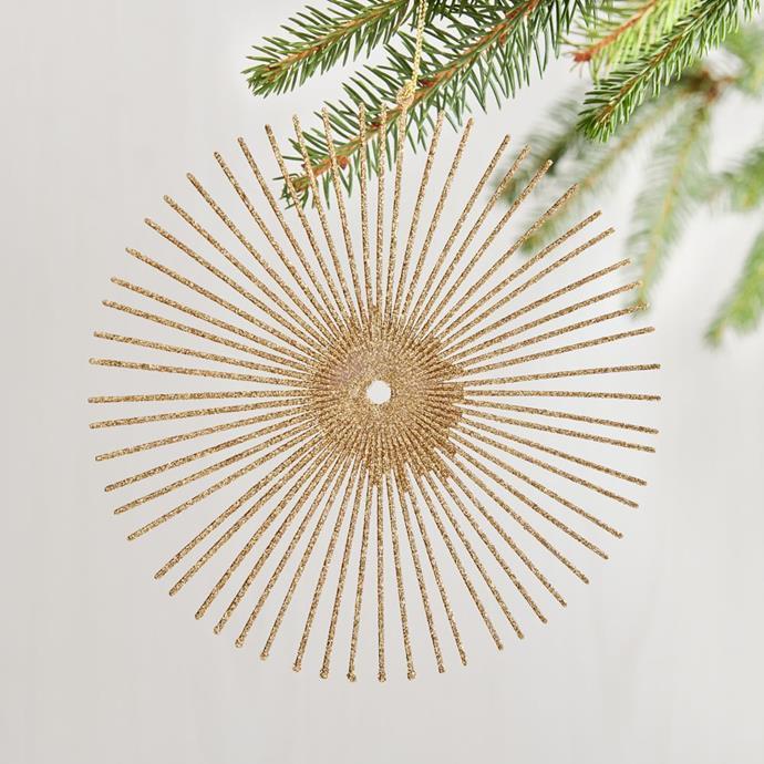"""Glitter Sunburst Ornament - Gold, $9, [West Elm](https://www.westelm.com.au/glitter-sunburst-ornament-gold-d5482 target=""""_blank"""" rel=""""nofollow"""")"""