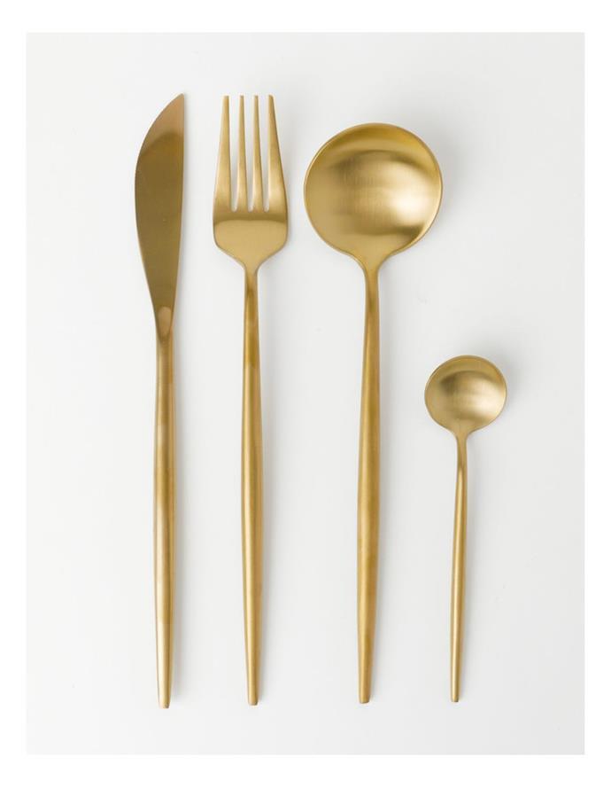"""Vue Spencer 16pc Cutlery Set GoldSpencer 16pc Cutlery Set Gold, $99.95, [Myer](https://www.myer.com.au/p/vue-spencer-16pc-cutlery-set-gold target=""""_blank"""" rel=""""nofollow"""")"""
