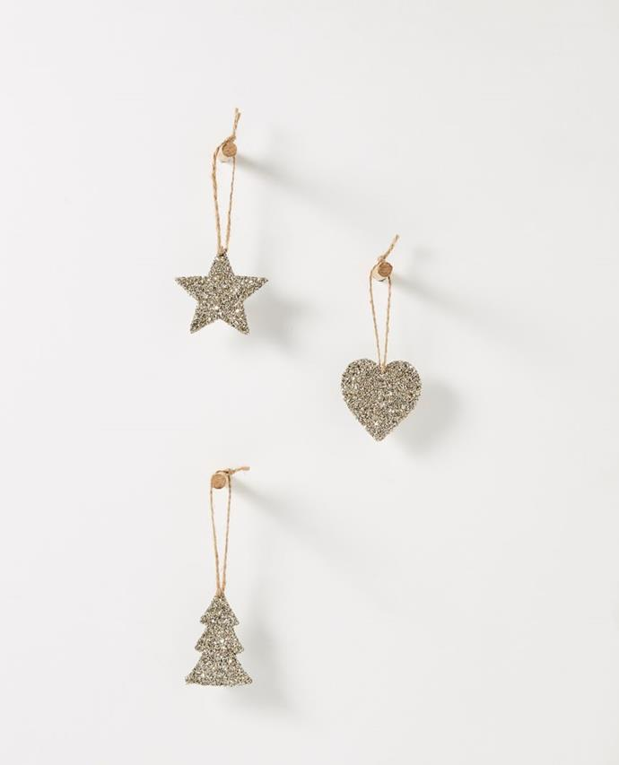 "Christabel Hanging Champagne Glitter Decorations - Assorted set of 6, $12.95, [Papaya](https://www.papaya.com.au/christabel-hanging-champagne-glitter-decorations-assorted-set-of-6 target=""_blank"" rel=""nofollow"")"