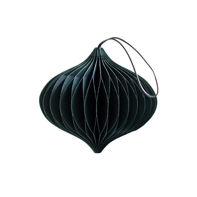 "NORDSTJERNE Forest Green Paper Onion Ornament, $10, [Design Stuff](https://www.designstuff.com.au/product/nordstjerne-forest-green-paper-onion-ornament/ target=""_blank"" rel=""nofollow"")"