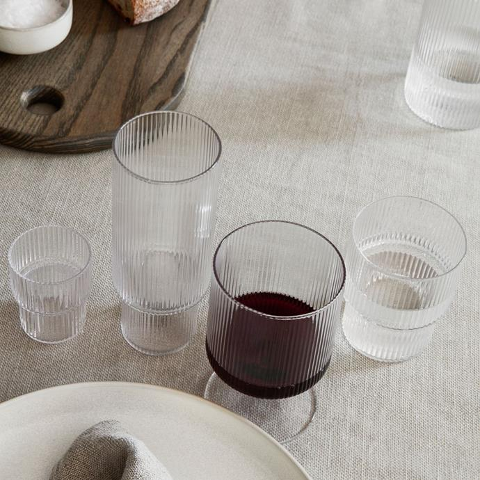 "ferm LIVING Ripple Wine Glasses – Set of 2, Clear, $81, [Design Stuff](https://www.designstuff.com.au/product/ferm-living-ripple-wine-glasses-set-of-2-clear/ target=""_blank"" rel=""nofollow"")"