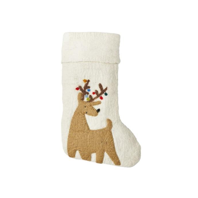 """West Elm x Pottery Barn Kids modern reindeer felt stocking, $39, [Pottery Barn Kids](https://www.potterybarnkids.com.au/modern-felt-reindeer-stocking-mb target=""""_blank"""" rel=""""nofollow"""")"""