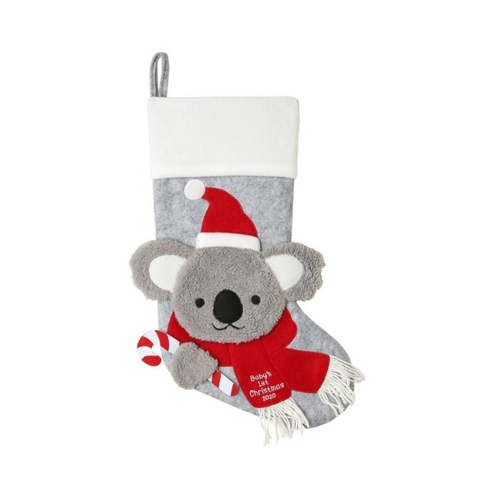 """Merry & bright baby's 1st koala face with santa hat & scarf stocking, $19.99, [Myer](https://www.myer.com.au/p/myer-giftorium-merry-bright-babys-1st-koala-face-with-santa-hat-scarf-stocking-grey-red-44-cm target=""""_blank"""" rel=""""nofollow"""")"""