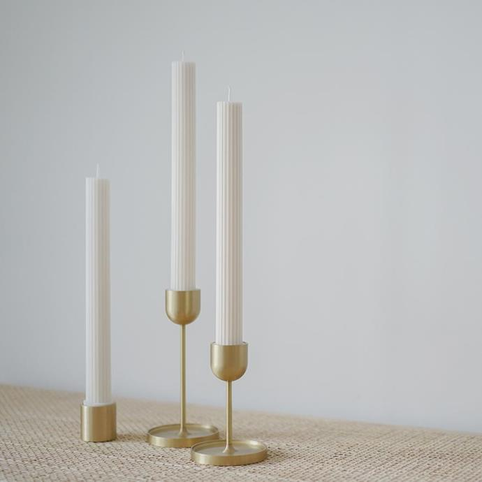 "Fountain Brass Candle Holder-Large, $89, [Black Blaze](https://www.blackblaze.com.au/collections/pillar-candle/products/fountain-brass-candle-holder-large target=""_blank"" rel=""nofollow"")"