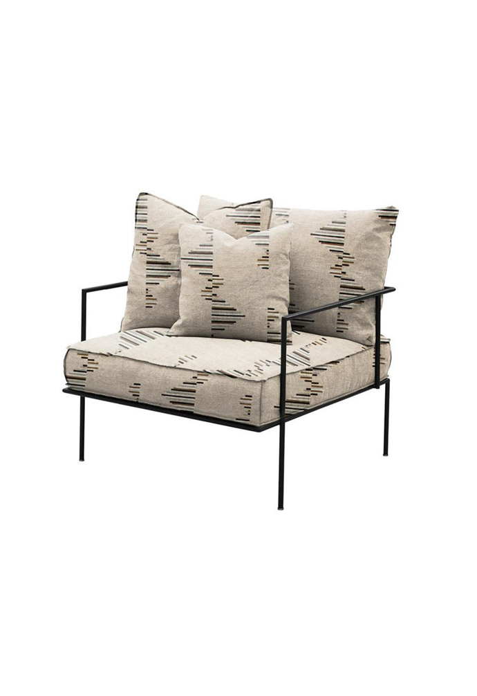 """Arcade chair in Kelly Wearstler 'Buff' fabric, $4480 includes extra set of linen covers in Stone Grey, [Smithmade](https://www.smithmade.com.au/products/arcade-chair?variant=32367482241060