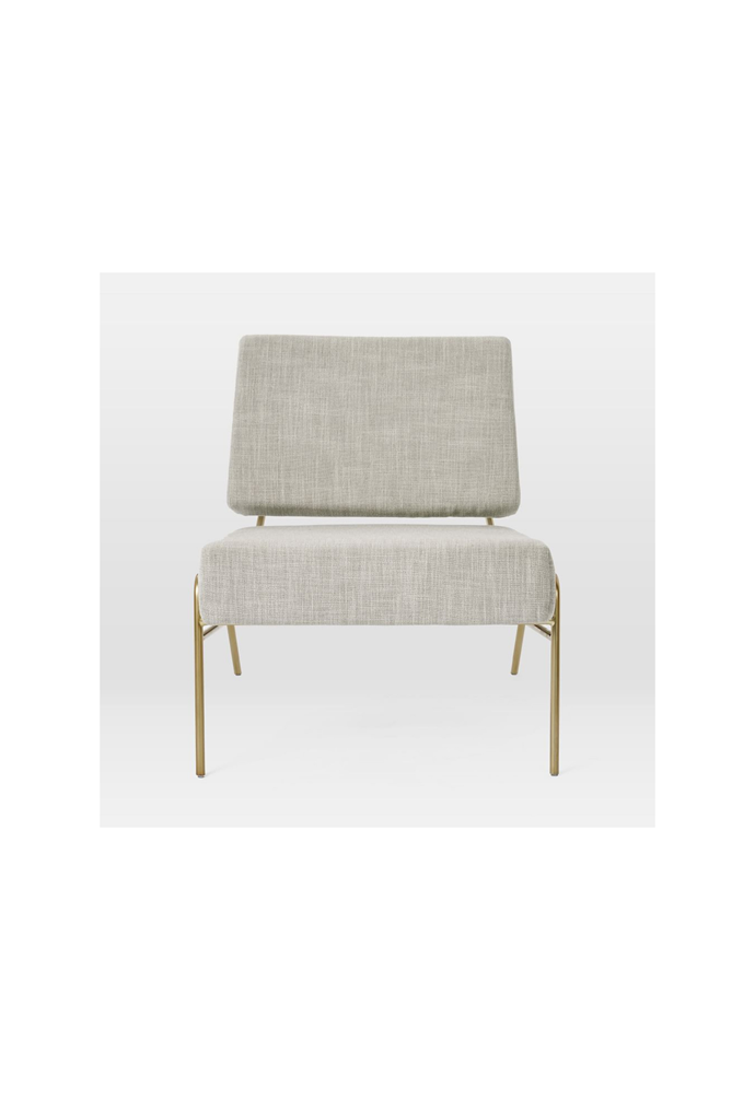 "Wire frame slipper chair in Platinum, $599, [West Elm](https://www.westelm.com.au/wire-frame-slipper-chair-qs-h3801|target=""_blank""