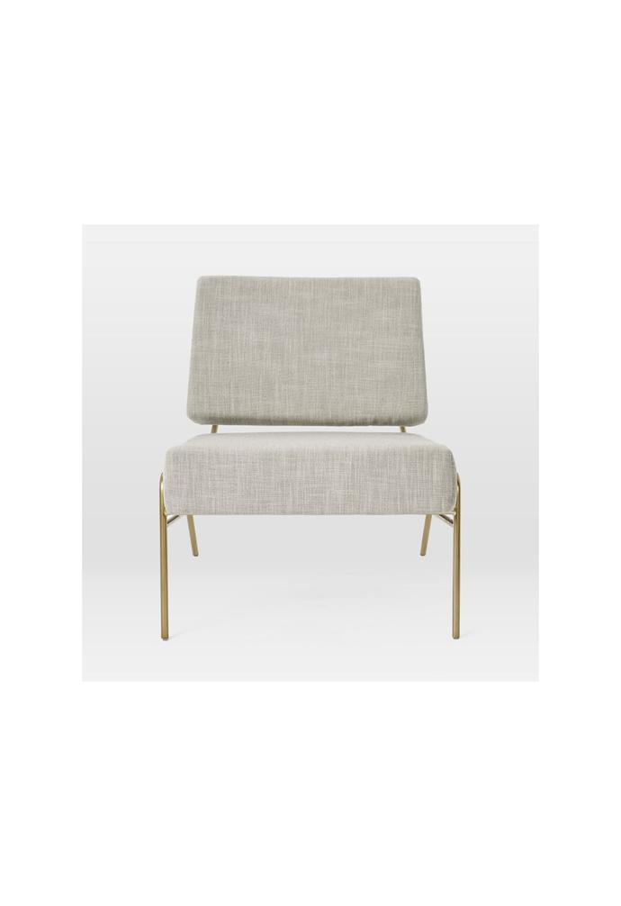 "Wire frame slipper chair in Platinum, $599, [West Elm](https://www.westelm.com.au/wire-frame-slipper-chair-qs-h3801|target=""_blank""|rel=""nofollow"")."