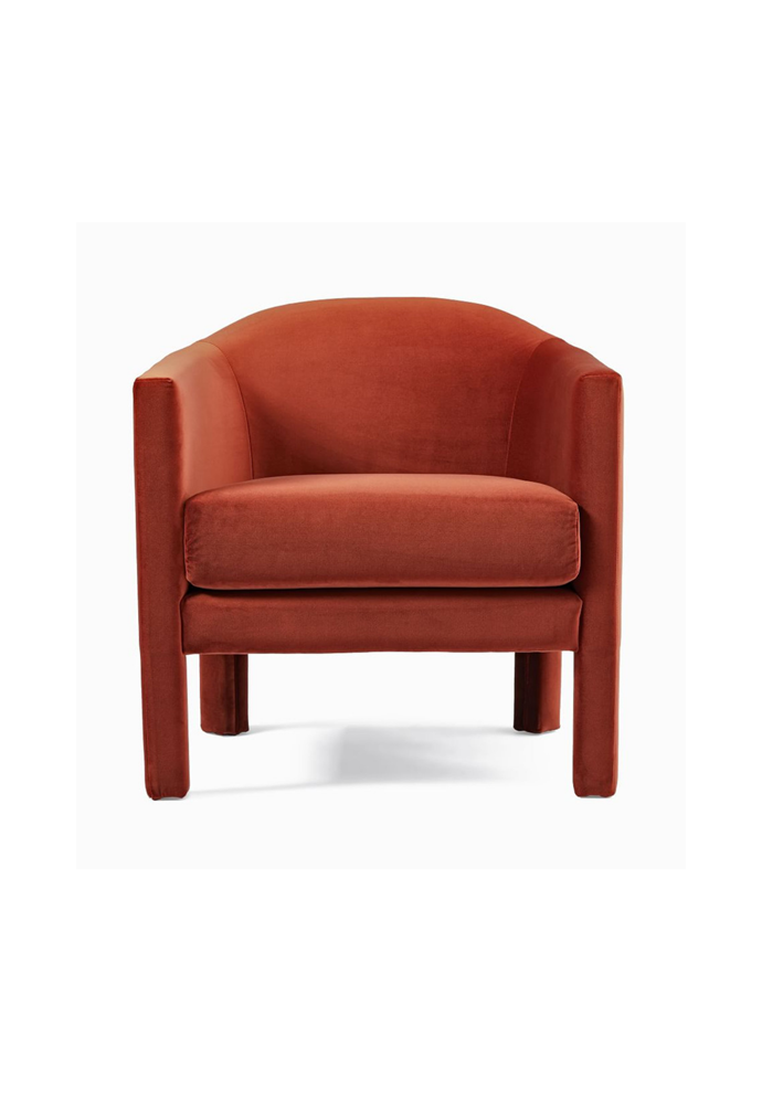 "Isabella chair in Rust, $1099, [West Elm](https://www.westelm.com.au/isabella-chair-h4999|target=""_blank""