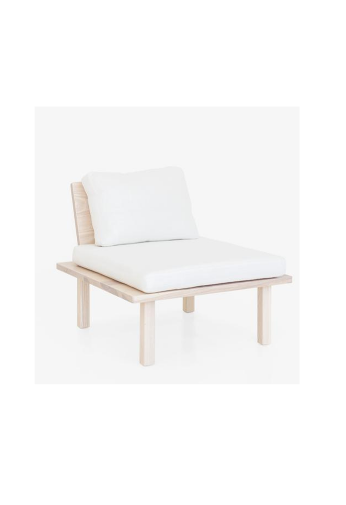 """Assembly chair in Chalk, $2900, [Mr and Mrs White](https://www.mrandmrswhite.net/products/assembly-single-seater-1