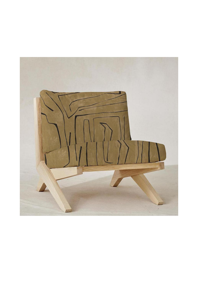 """Graffito chair in Kelly Wearstler 'Java' fabric, $2850 including extra set of linen covers in White , [Smithmade](https://www.smithmade.com.au/products/graffito-chair?variant=32367482306596